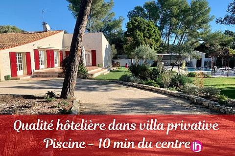 Location de meublé : Villa 4 chambres avec grand jardin et piscine au calme